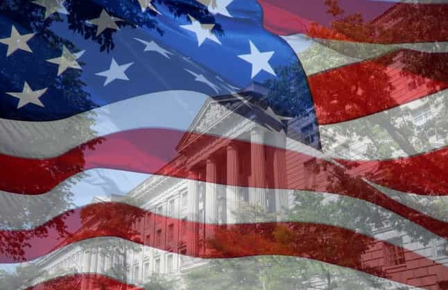 US flag & Commerce Department DC
